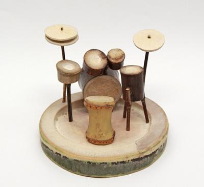 竹製のドラムセット